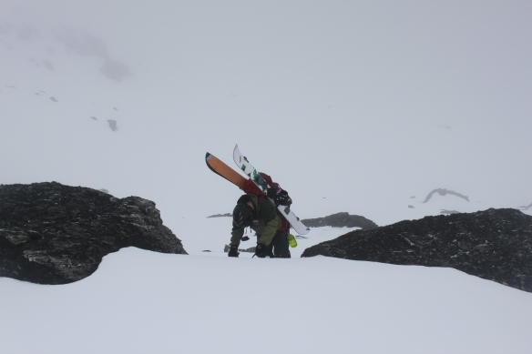Todd gains the ridge in the thick cloud