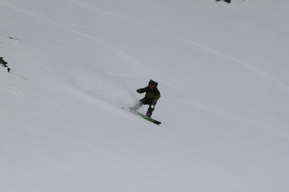 Todd scores the best snow of the day above Lake Alta