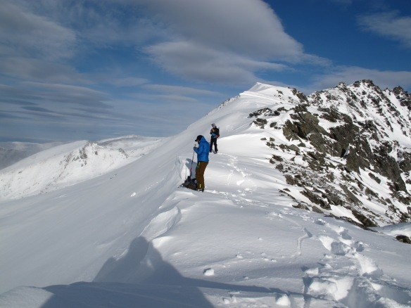 Myself and Pow on the Ridgeline with a lot of wind loading. Photo: Todd Redpath