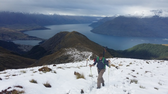"Brad Markey on the ""saddle"" between Bowen peak and Ben Lomond."